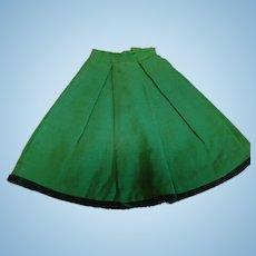 Lovely Antique Wool Lady Doll Skirt with Wide Pleats, Lined in Brown Cotton for Doll Approximately 20-22 In.