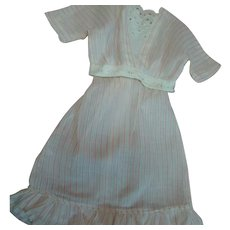 Antique Two-Piece Summer Frock for a Lady Doll Approx. 21-22 In. Tall; Pink on White Striped Cotton Voile, White Eyelet Trim