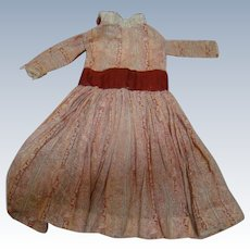 Antique Hand Stitched Cotton Dress for a 21-22 In. Doll, Colorful Fabric with Red Inset Waistband