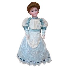 German Beauty, Simon Halbig 18 In. Mold 1159 Lady Doll on Original Stamped Slender, Busty Lady Body