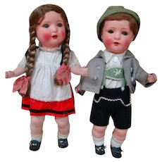 Pair of German Character Toddlers Tagged, Factory Original by Schoenau& Hoffmeister, Excellent Condition!