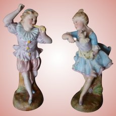 Beautiful Quality Matched Pair of Dancing German or French Figures 8 and 9 In. Tall, Signed