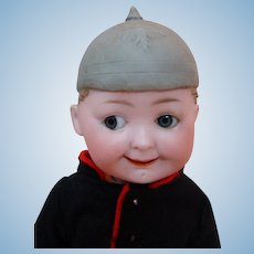 """11 In. German Bisque Head """"Elite"""" Googly with Molded Helmet on Jointed Composition Body by Max Handwerck"""