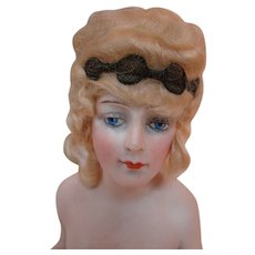 Extraordinary 8 Inch Tall Bisque Nude Wigged Half Doll, Arms Away, Superb Modeling, Dramatic Eye-Painting