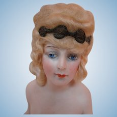 Extraordinary 8 Inch Tall Bisque Nude Wigged Half Doll, Arms Away