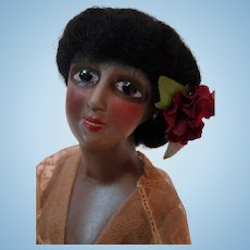 Stunning 6-1/2 In. Black Half Doll with Jointed Arms Away, Large Enameled Black Eyes, Open Dome with Black Mohair Wig