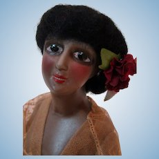 Stunning 6-1/2 In. Black Half Doll with Jointed Arms Away, Enameled Eyes, Orig. Wig