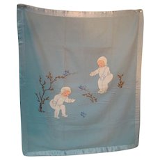 1920's-30's Hand-Stitched Blue Wool Blanket, Silk Binding, Great for Large Dolls