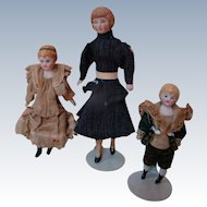 Set of 3 German Dollhouse Dolls, Lady and 2 Children