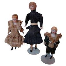 Set of 3 German Dollhouse Dolls, Lady and 2 Children