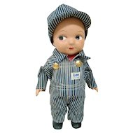 Buddy Lee Engineer, Composition 13 In. Advertising Doll for Lee Denims, Near Mint, Complete and Original with Hat!