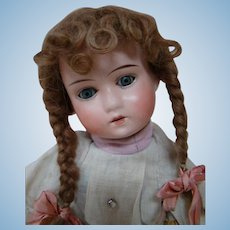 14-1/2 In. Bisque Head German Child Doll, Cute Mohair Wig, Original with No Damage, Mold #200