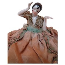 German Pincushion or Half Doll with Arms Away and Back, Flapper Hairstyle, on Beautifully Decorated Ornate Base