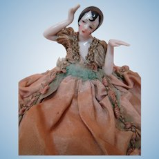 German Pincushion / Half Doll with Arms Away and Back, Flapper Hairstyle, Beautifully Dressed