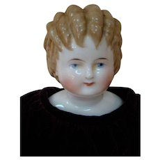 19.5 In. Blond China Shoulder Head Doll with Curly Top Hair Style, Antique Body with China Limbs, Gold Luster Boots