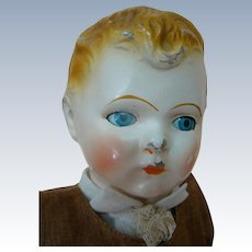 14 In. Original Early American Composition Character Doll, Tin Sleep Eyes, Hard Stuffed Cloth Body