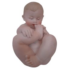 Gebruder Heubach Nude Baby with Toe in His Mouth, A Classic Favorite!