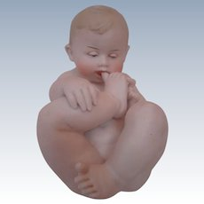 Gebruder Heubach Nude Baby with Toe in His Mouth, A Classic Favorite and So Hard to Find!