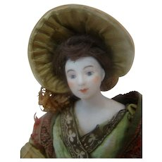 10-1/4 In. Bisque Shoulder Head Lady Doll Dressed to the Hilt in Silk Brocades, Woven Shawl, and Unbelievable Hat!