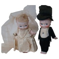Pair / 6 Inch German Made Signed Rose O'Neill Kewpies Dressed as Bride and Groom, Adorable!  Cute as Cake Toppers; Blue Wings