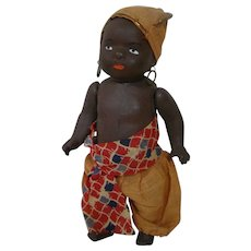 7-1/2 In. Original Black Baby / Toddler Boy, German Compo or Paper Mache, Painted Features, Closed Mouth, Molded Hair, Near Mint Condition