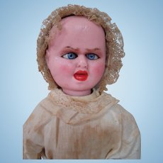 14.5 Inch Original Wax-Over-Paper Mache Two Faced Doll with Screamer / Serene Faces, by Fritz Bartenstein. Germany, cir. 1888,