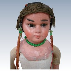 17.5 In. Very Unusual German Made Paper Mache Shoulder Head Doll, Glass Eyes, Closed Mouth - Fixer Upper