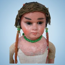 17.5 In. Very Unusual German Made Paper Mache Shoulder Head Indian Doll, Glass Eyes, Closed Mouth - Fixer Upper