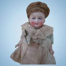 Early German All Bisque Doll, Beautiful Braided and Coiled Mohair Wig, Painted Features, Chubby Body with Frozen Legs, Jtd. Arms