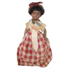 10 In. Original Mulatto / Black French Regional Doll, Unis France 60, Glass Eyes, Curly Wig