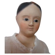 14 In. French Type Papier Mache Doll, Glass Eyes, Black Pate and Antique Human Hair Wig, Closed Mouth
