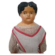 15-1/2 In. Completely Original Sonneberg-type Papier Mache Lady, Circa: 1880-1910