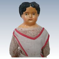 15-1/2 In. Completely Original Sonneberg-type Papier Mache Lady, Circa: 1880-1910