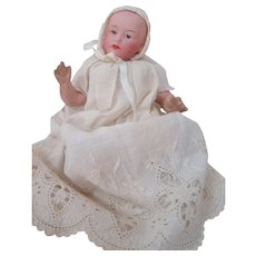 6 Inch Pouting Gebruder Heubach Baby, Intaglio Eyes, Long Christening Gown and Matching Bonnet, Germany Circa 1910