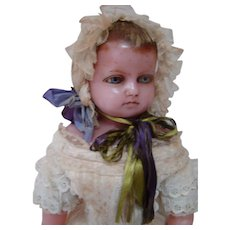21 In. English Poured Wax Child, Beautifully Dressed Antique