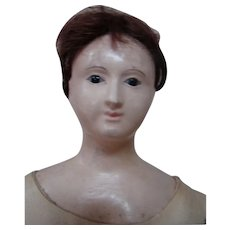 14 Inch French-type Papier Mache Shoulder Head on Original French Pink Tint Kid Body, Excellent Condition