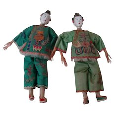 Pair of 11 In. Original Chinese Opera Dolls, 1930-1940