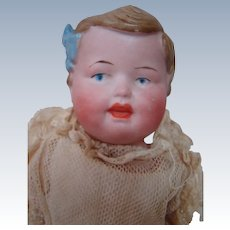 11-1/2 In. German Shoulder Head Child Doll with Molded Hair and Blue Molded Hairbow, Original Body