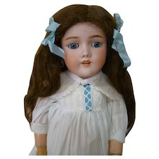 22 Inch German Handwerck Halbig Mold #99 Beauty, Original Marked Handwerck Body, Long Curly Original Wig, Circa 1985