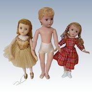 Three Nice Hard Plastic Dolls by Madame Alexander, 1940's-50's Needing Light Fixer-Upper Jobs