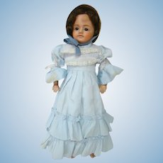 15.5 Inch Wax-Over Doll with Wig 1860-1900, Suitably Dressed, Poke Bonnet, Composition Lower Arms and Legs, Cloth Stuffed Body