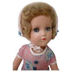 14 Inch All Composition Socket Head Doll, Unmarked, Original, Near Mint Condition, Wigged, Sleep Eyes
