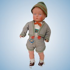 10 In. Original German All Celluloid Toddler Boy with Turtle Mark on Back and Hang Tag.  Excellent!!