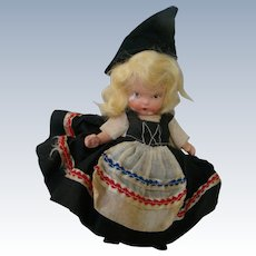 """5 In. Bisque Nancy Ann Storybook Doll Marked """" Judy Ann  USA ,"""" Molded Socks and Molded Bangs, Around the World Series"""