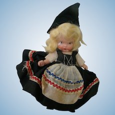 "5 In. Bisque Nancy Ann Storybook Doll Marked "" Judy Ann  USA ,"" Molded Socks and Molded Bangs, Around the World Series"