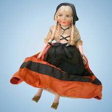 """Awesome Original 18 In. French Silk Face Boudoir or Bed Doll with """" Au Nain Bleu """" Label, Composition Arms and Legs, Cloth Body"""