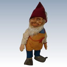 "12 In. Original Steiff Gnome "" Gucki ,"" Original Hang Tag and Button with Yellow Tag at Wrist"