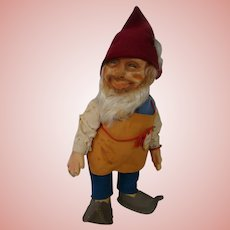 """12 In. Original Steiff Gnome """" Gucki ,"""" Original Hang Tag and Button with Yellow Tag at Wrist"""