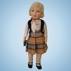 16 In. Chad Valley Cloth Doll with Glass Eyes, all Original with her Hang Tag, Made in England