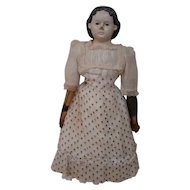 19 In. Papier Mache Greiner Type, Molded, Painted Black Hair, Cloth Body, Leather Arms